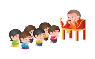 munk sitter på en predikstol vektor