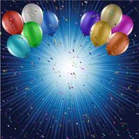 Ballone und Konfettihintergrund