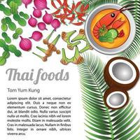 thailändsk läcker och berömd mat vektor