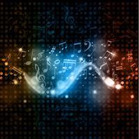 Musik noterar disco ljus bakgrund vektor