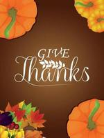 glücklicher Erntedankfesthintergrund mit Vektorkürbis und Herbstblättern vektor
