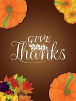 lycklig tacksägelsedagsbakgrund med vektorpumpa och höstlöv vektor