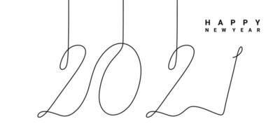 kontinuerlig en radritning av en nyårstext 2021. kinesiskt nyår av tjuren handskriven 2021 bokstäver. firande nytt år koncept isolerad på vit bakgrund. vektor