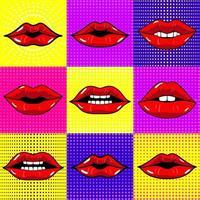 handgezeichnete Vektorillustrationen. Mund mit Zähnen. weibliche Lippen auf hellem Hintergrund gesetzt. Pop-Art-Stil. vektor