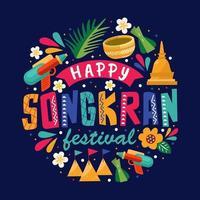 bunter Songkran Festivalhintergrund vektor