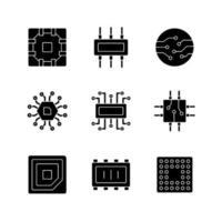 mikrokretsar svarta glyph ikoner som på vitt utrymme vektor