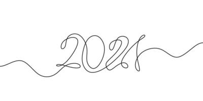 2021 ist die Nummer des und des neuen Jahres. Jahr des Stiers. Zeichnen einer Linie im durchgehenden Strichzeichnungsstil isoliert auf weißem Hintergrund. vektor