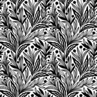 nahtloses Muster der schwarzen und weißen Blumenverzierungen vektor