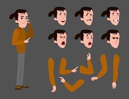 tecknad affärsman som karaktär för animering eller rörelse med olika ansikts känslor och händer. vektor