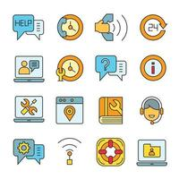 Kontakt- und Kundensupport-Symbole festgelegt vektor
