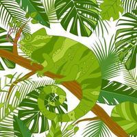 niedliches Karikaturchamäleon auf Baum mit tropischen Blättern. Vektorillustration, handgezeichneter flacher Stil. vektor