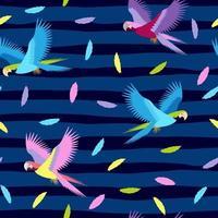 nahtloses tropisches Muster mit bunten Papageien und Federn auf gestreiftem Hintergrund. Vektor Sommer Hintergrund. Druck für Stoff und Web.