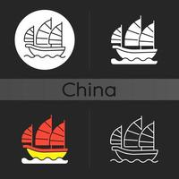 skräp fartyget mörk tema ikon vektor