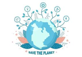 Speichern Sie unsere Planet Erde Illustration zu grüner Umwelt mit umweltfreundlichem Konzept und Schutz vor natürlichen Schäden vektor