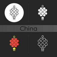 kinesisk knytande mörk tema ikon vektor