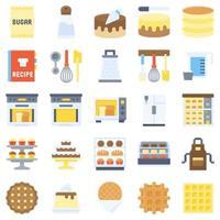 bageri och bakerelaterad platt ikonuppsättning 4 vektor