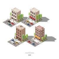 isometrische Stadtgebäude mit Personenauto und Baumvektorikonendesignsatz e vektor