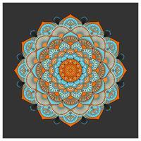 Weinlese bunte Mandala mit Blumenverzierung. Boho Stil Zwillingsvulkane vektor