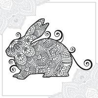 Kaninchen-Mandala. Vintage dekorative Elemente. orientalisches Muster, Vektorillustration. vektor