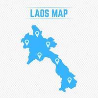 Laos einfache Karte mit Kartensymbolen vektor