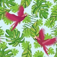 Vektor Hand gezeichnete tropische Blätter und rosa Papageien. tropische Sammlung. Schablonendesign für Stoff, Umschlag, Valentinstag, für Party, Feiertagsdekor.