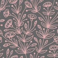 sömlös grått mönster med efterföljande rosa blommor vektor