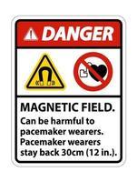 Gefahr Magnetfeld kann für Schrittmacher-Träger schädlich sein Schrittmacher-Träger bleiben 30 cm zurück vektor