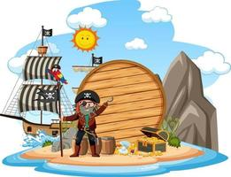 Pirateninsel mit einem leeren Banner lokalisiert auf weißem Hintergrund vektor