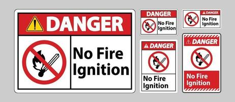 Gefahr kein Feuer Zündsymbol Zeichen auf weißem Hintergrund vektor