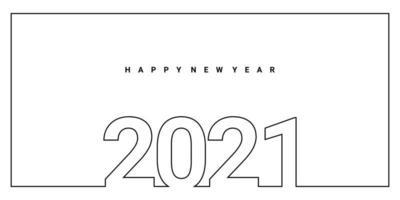 2021 frohes neues Jahr einzelne kontinuierliche Umriss Handzeichnung Unterschrift Design. Feier Neujahrskonzept lokalisiert auf weißem Hintergrund. vektor