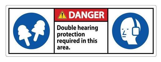 In diesem Bereich ist ein doppelter Gehörschutz mit Ohrenschützern und Ohrstöpseln erforderlich vektor