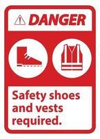 Warnschild Sicherheitsschuhe und Weste mit Ppe-Symbolen erforderlich vektor