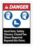 Warnschild Schutzhelme Schutzbrille geschlossene Zehen Schuhe über diesen Punkt hinaus erforderlich vektor