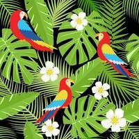 Blumenhintergrund mit tropischen Blumen, Blättern und Papageien. Vektor nahtloses Muster für stilvolles Stoffdesign, Papier, Web.