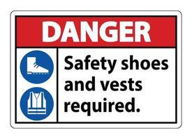 Warnschild Sicherheitsschuhe und Weste mit ppe Symbolen auf weißem Hintergrund erforderlich vektor