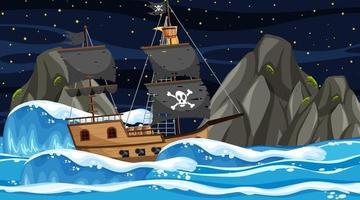 Ozean mit Piratenschiff bei Nachtszene im Karikaturstil vektor