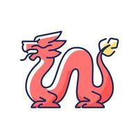 Loong Dragon RGB färgikon vektor