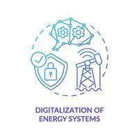 Symbol für das Digitalisierungskonzept von Energiesystemen vektor