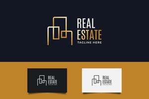 Immobilienlogo in Goldverlauf mit Linienstil. Designvorlage für Konstruktion, Architektur oder Gebäudelogo vektor
