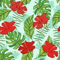 vektor hand dras tropiska blad snd blommor. tropisk samling. mall design för tyg, kuvert, valentine, för fest, semester dekor.