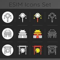 kinesisk historia mörkt tema ikoner set vektor