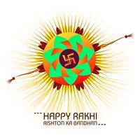 Lyckligt Raksha Bandhan firande hälsningskort med färgstarka rak vektor