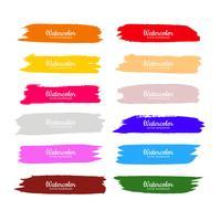 Abstrakt färgrik vattenfärg hand rita slår set design