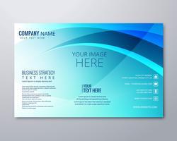 Abstrakte blaue gewellte Geschäftsbroschürendesignschablone