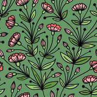 sömlöst grönt mönster med efterföljande rosa blommor vektor
