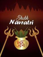 shubh navratri realistisk kalash och gyllene trishul vektor