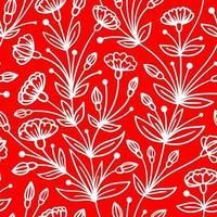 sömlöst rött mönster med efterföljande vita blommor vektor