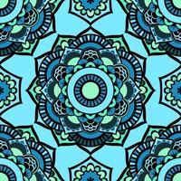 nahtloses buntes Glasurmuster von Mandalas. Vektor orientalisches Muster auf einem hellen Blauton. Fee Blumenmuster von kreisförmigen Elementen.