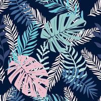 nahtloses Muster mit Blattelementen. Vektormuster mit exotischen Blättern, Zweigen, Zweigen, Gras. idealer Druck für Jugendkleidung. vektor