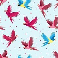 nahtloses tropisches Muster mit buntem Papagei und Punkt. Vektor Sommer Hintergrund. Druck für Stoff und Web.